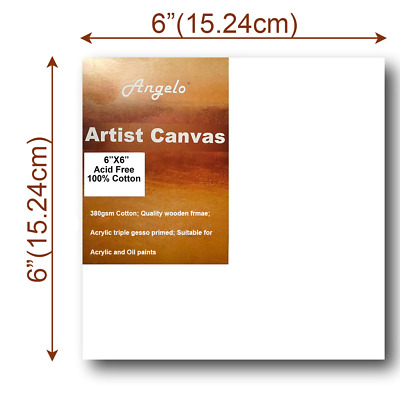 "Artist Thick Stretched Blank Canvas 6""X6"" 15 X 15cm Canvases Bulk Art Craft"