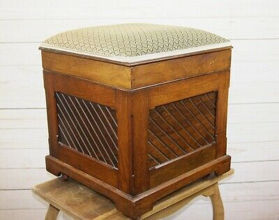 Antique Aesthetic Victorian Walnut Smll Ottoman Stool Hinged Lid Upholstered Top