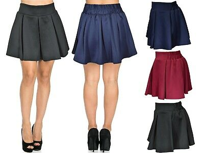 New Ladies Scuba Skirts Girls Day Party Box Pleat Women FLare Skater Mini Skirt