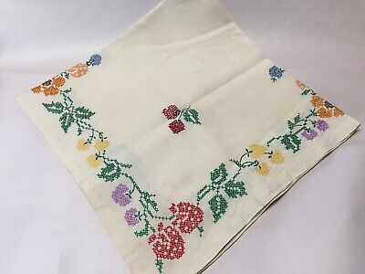 Handmade Cross Stitched Vintage Linen Square Tablecloth W/ Fruit & Flowers