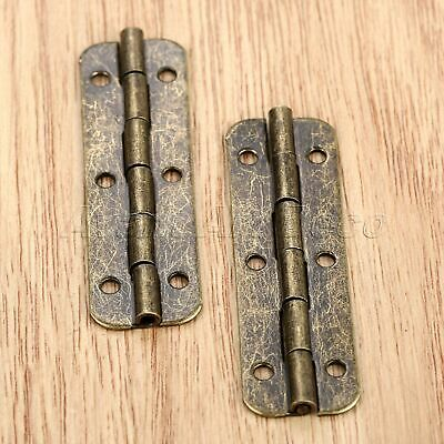 2/10x Bronze Tone Wooden Case Decoration Vintage Jewelry Box Long Hinge Hardware