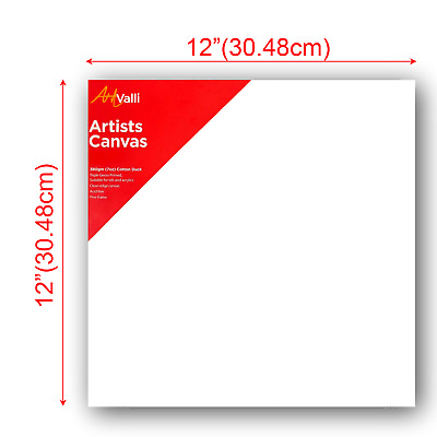 """Artist Thick Stretched Blank Canvas 12""""X12"""" 30 X 30cm Canvases Bulk Art Craft"""