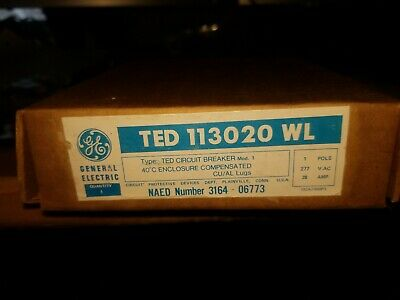 GE TED113020 Circuit Breaker 20 Amp 277 Vac 1-Pole 20A