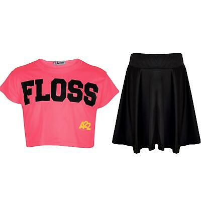 Kids Girls Floss Fashion Crop Top Stylish Neon Pink Top & Skater Skirt Set 5-13Y