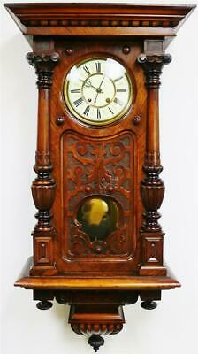 Antique German RMS 8 Day Carved Walnut Vienna Regulator Timepiece Wall Clock