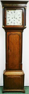 Antique English C1790 8 Day Striking Oak & Mahogany Grandfather Longcase Clock