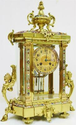 Amazing Antique French 8 Day Ormolu & Champleve 4 Glass Regulator Mantle Clock