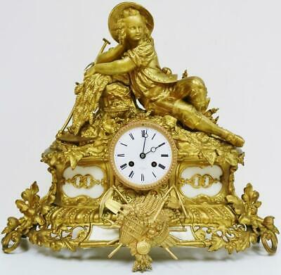 Antique French 8 Day Striking Bronze Ormolu & Marble Figural Mantle Clock