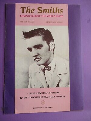 The Smiths Shoplifters of the World ORIGINAL PROMO POSTER 1987 Rough Trade Elvis