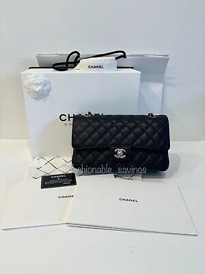 eb91f68c06e8ee Chanel Black Caviar Leather Medium Classic Flap Bag SHW New Authentic 2019