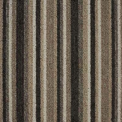 Beige Springfield Cheap Striped Loop Pile Carpet Hardwearing Felt Backed 4m Wide