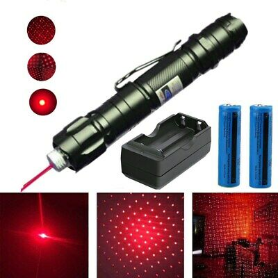 Belt Clip Rechargeable Red Laser Pointer Pen 650nm Star Cap Bright Lazer Torch