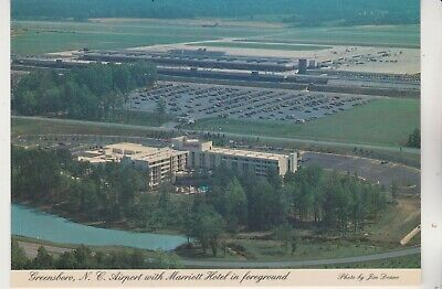 Greensboro,N.C. - NC Airport & Marriot Hotel in foreground Continental Postcard