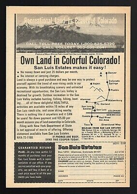 1973 Colorado Recreational Land Print Ad~San Luis Estates~Mount Blanca Peak