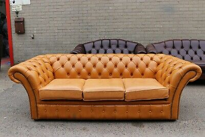 Handmade 3 Seater Vintage Light Tan Leather Chesterfield Sofa Couch Settee