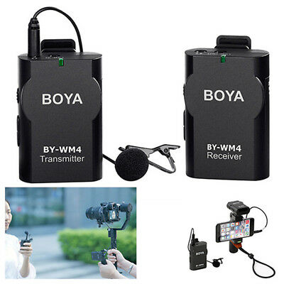 BOYA BY-WM4 Wireless Lavalier Lapel Mic Microphone for Canon DSLR Cameras iPh SG