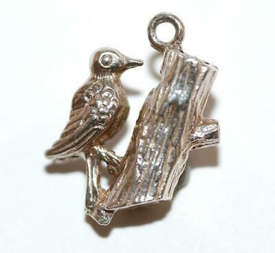 Bird On Branch Sterling Silver Vintage Bracelet Charm With Gift Box 3.1g