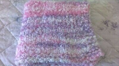 Stunning New Hand Knitted Chunky Fluffy Baby Blanket 27 X 25 Ins Pastel  Mix