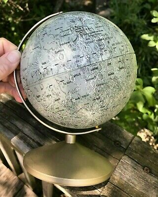 "Replogle 6"" Moon Lunar Globe Metal Vtg 1969 Apollo 2 Landing Sites Craters Stand"