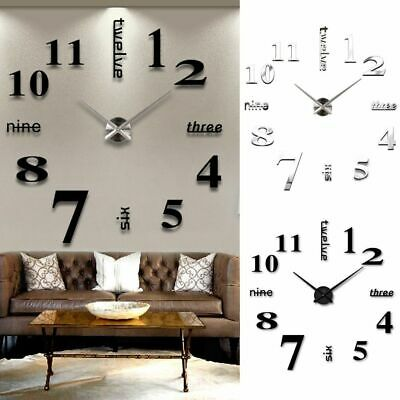 3D DIY Extra Numerals Luxury Mirror Wall Sticker Clock Home Decor UK