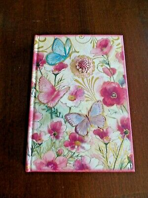POOCH & SWEETHEART 128 Ruled Pages JOURNAL Flowers Butterfly Bejeweled 8.5x6""