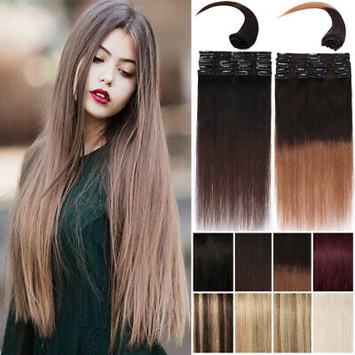 Ombre Clip in Remy Real Human Hair Extenions Full Head Brwon Blonde Long UK A33