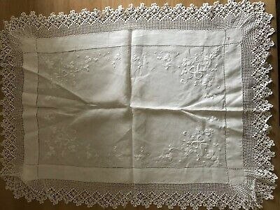 White cotton embroidered & crochet edged tray cloth
