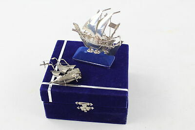 2 x Vintage .800 & .925 Continental SILVER Ship Ornaments Inc. Stand, Box (73g)