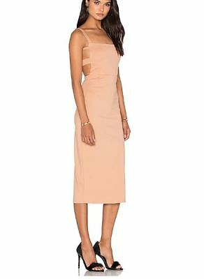 b966159c7144 LPA The Label Revolve 27 Dress XS Nude Bodycon Fitted Midi Stretch Cocktail  NEW