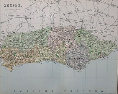 1889 County Map Sussex Chichester Worthing Lewes Brighton Eastbourne Cuckfield