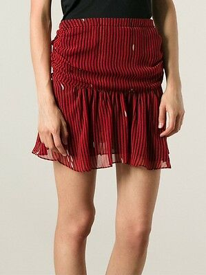 Skirts Women's Clothing Isabel Marant Étoile Cary Ruched Stripe Mini Skirt In Red Size Fr 36