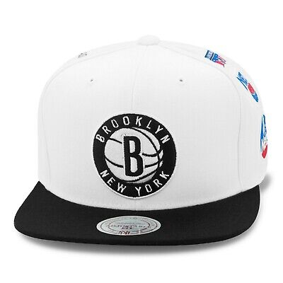 e20a9044 Mitchell & Ness Brooklyn Nets Snapback Hat White/Black/6 Side Patches