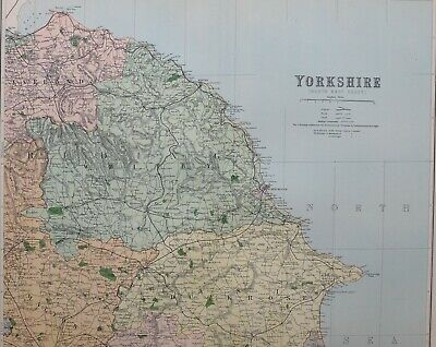 1889 County Map Yorkshire North East Sheet Whitby Malton Egton Guisbrough