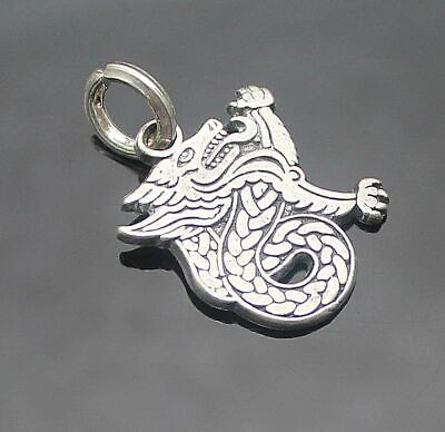 Beautiful Vintage Medieval Dragon Sterling Silver Pendant / Charm
