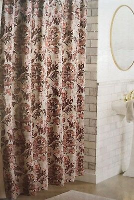 X 72 in Threshold Shower Curtain Green Botanical Floral White 100/% Cotton 72 in
