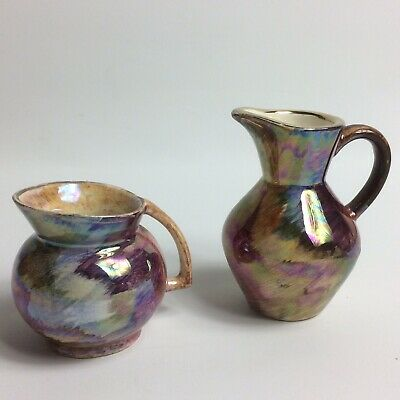 "J FRYER - OLDCOURT WARE 2 x Lustreware Miniature Jug Vases  2"" and 3"" tall"