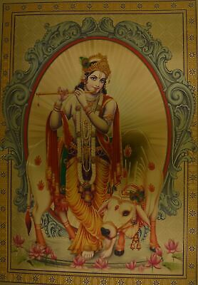"""Religious Poster Lord Krishna & Cow Picture Size: 8.5"""" x 12"""" unframed"""