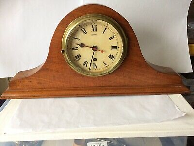 Brass Bulkhead Clock Housed In Wooden Case Rare And Unusual Working