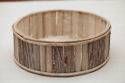 Brand New Large RUSTIC BARK ROUND BOWL *Baby Newborn Photo Prop Real Wood Basket