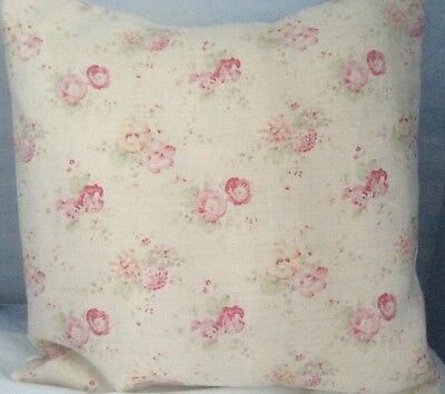 Peony and Sage Cushion Cover Roses /& Sweet Peas Linen Fabric Pink Shabby Chic