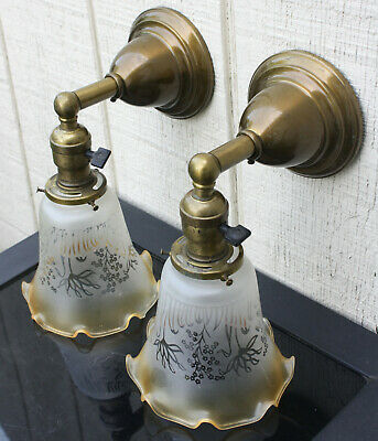 1910's BRASS  Antique Vintage Wall Sconce Lamp  Fixture Etched Shades