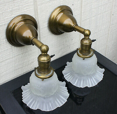 1910's BRASS Antique Vintage Wall Sconce Lamp Fixture Ruffled Shades