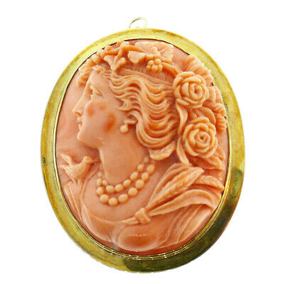 Vintage 14k Yellow Gold Coral Carved Cameo Pendant Pin