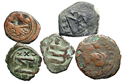 GROUP LOT of 5 Byzantine Bronze Coins Size 21 - 27mm CERTIFIED AUTHENTIC History