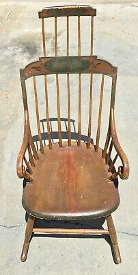 c.1800's American Windsor Comb Back Hand Painted Rocking Chair