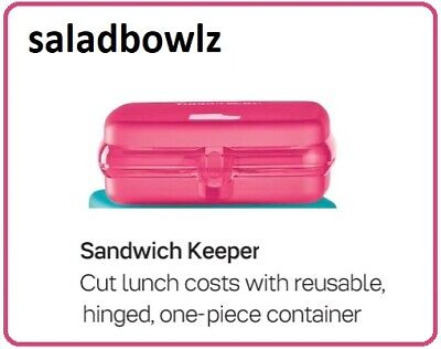 TUPPERWARE New SANDWICH KEEPER in SHEER PINK Hinged Packable Lunch Container