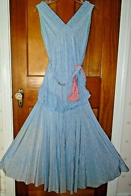 ANTIQUE VINTAGE 1920s FLAPPER DRESS BLUE SILKY MOIRE w/ CORAL SASH & RUFFLES XS