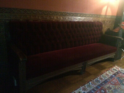 Early 1900's Oak Arts and Crafts Bench or Couch, Upholstered in Red Velvet