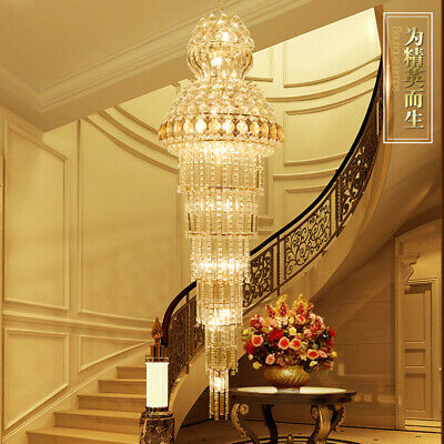 CRYSTAL LIGHT LONG Duplex Floor Hollow Spiral Chandelier Staircase
