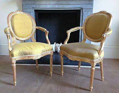 ANTIQUE pair of 18th century gilt-wood armchairs covered in raw silk - SUPERB